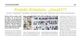 """Projekt Eichplatz. """"Jena21""""? Stadt fordert höhere Integration der Bürger bei Entscheidung"""