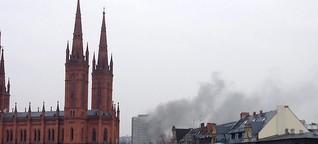 Rauch über Wiesbadener Kureck - Brand im ehemaligen R+V Gebäude