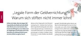 """Legale Geldvernichtung"" - Fundraiser Magazin"