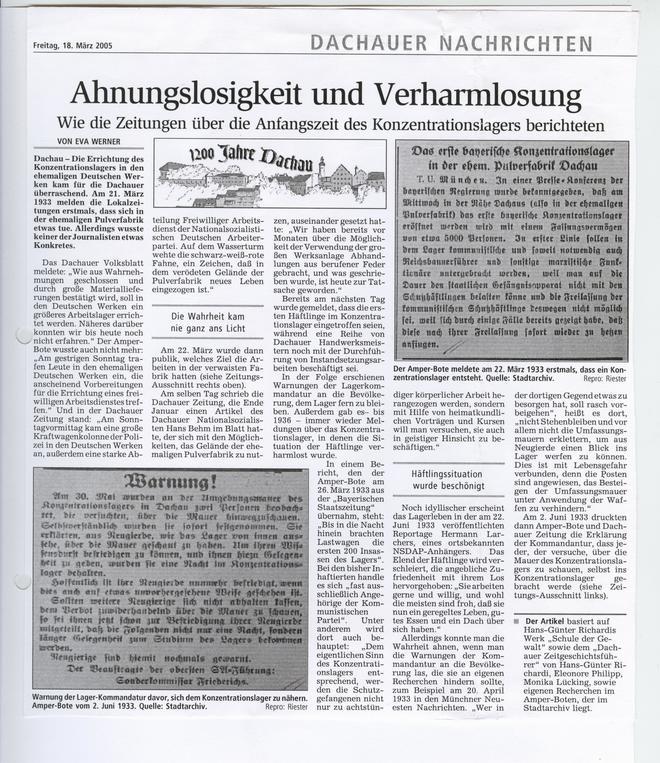 Anfangszeit des KZ Dachau in zeitgenössischen Zeitungen