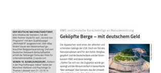 Geköpfte Berge - mit deutschem Geld