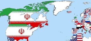 A world map showing who every country thinks is the biggest danger to world peace