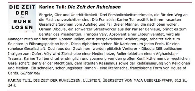 """Rezension von Karine Tuils Roman """"Die Zeit der Ruhelosen"""""""