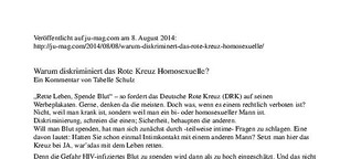 Kommentar: Warum diskriminiert das Rote Kreuz Homosexuelle?