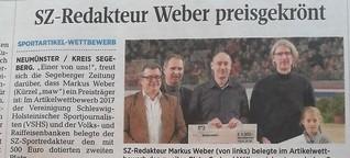 SZ-Redakteur Weber preisgekrönt