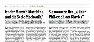 """Rezension zu Bernd Schuchter: Herr Maschine oder vom wunderlichen Leben und Sterben des Julien Offray de La Mettrie"""", Braumüller Verlag, Wien 2018,"""