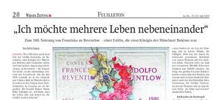 Zum 100. Todestag von Franziska zu Reventlow
