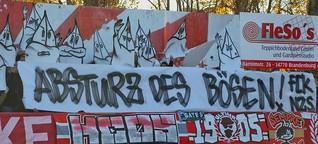 Choreo, Intro, Plakate & Aktion gegen Nazis im Landespokal