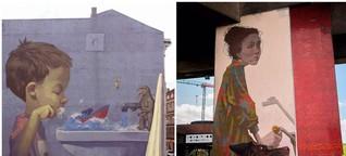 Wandkunst mit Aussage: Dieser Graffiti-Künstler verwandelt Europas Häuserwände in Cartoons