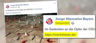 Die AfD hat auf Facebook Werbung für eine Webseite gemacht, die Merkel als Terrorhelferin für Deutschland und Europa zeigt