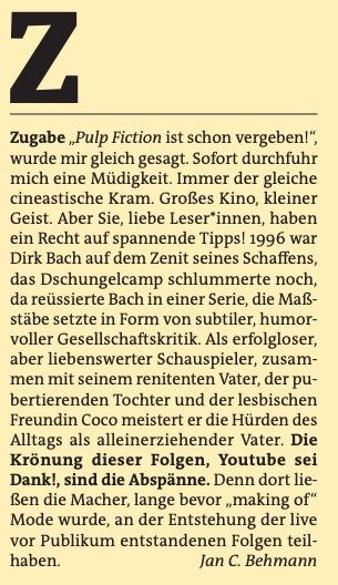 Freitag A-Z: Zugabe (Kino)