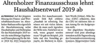 Altenholzer Finanzausschuss lehnt Haushaltsentwurf 2019 ab