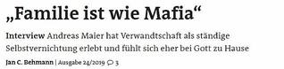 """Interview - """"Familie ist wie Mafia"""""""