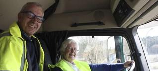 40 Tonnen, 450 PS: Oma Ursula darf endlich Lkw fahren