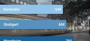 ÖPNV-Ranking: Karlsruhe hat das günstigste Monatsticket im Südwesten