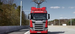 E-Autobahn: Scania-Truck mit Stromabnehmer