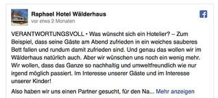 Social Media Inhalte (Text+Bild) für Raphael Hotel Wälderhaus