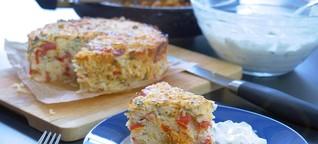 Leckerer Reiskuchen mit Tomaten und Paprika – Rezept leicht, mediterran, pikant