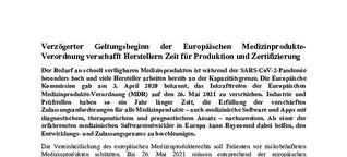 Verzögerter   Geltungsbeginn   der   Europäischen   Medizinprodukte-Verordnung