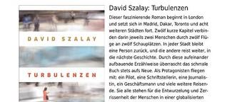 "Rezension von David Szalays ""Turbulenzen"""