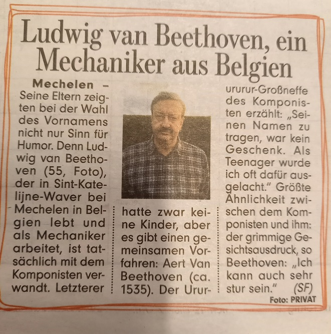 Ludwig van Beethoven, ein Mechaniker aus Belgien