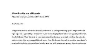 """More than the sum of its parts. About the art project """"Exhibition"""" (New York, 2009)"""