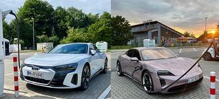 Audi e-tron GT vs. Porsche Taycan: Vier Ringe oder springendes Pferd?